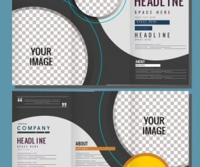 Corporate brochure templates modern checkered circles vector