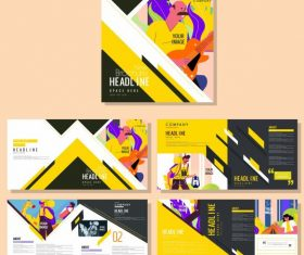 Brochure templates human activities colorful vector