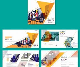 Corporate brochure templates furniture colorful vector