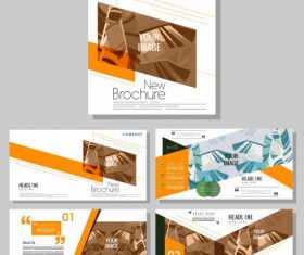 Company brochure templates modern leaves vector design