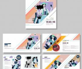 Fashion brochure templates colorful model set vector
