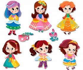 Little princess icons cute cartoon characters vector design