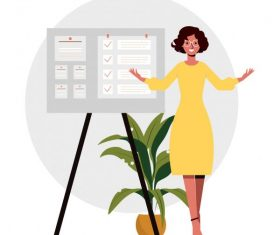 Presentation work background office lady sticker board vector