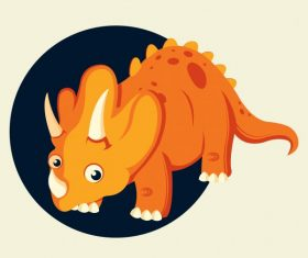 Triceraptor dinaosaur cute cartoon character orange vector