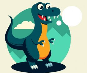 Tyrannousaurus rex dinosaur cute cartoon character shiny vector