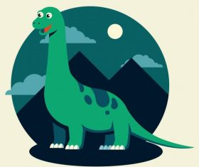 Apatosaurus dinosaur cartoon cute stylized vector