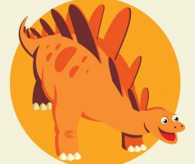 Stegosaurus dinosaur cute cartoon character orange vector