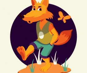 Fox animal funny stylized cartoon character vector material