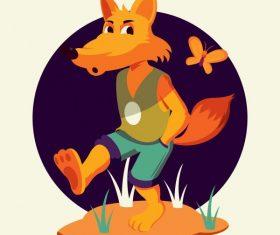 Fox animal funny stylized cartoon character vector material