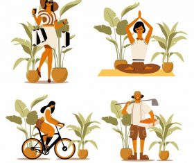 Human activities icons shopping yoga cycling farming vector material