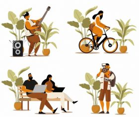 People activities icons guitarist cyclist staff photographer vector