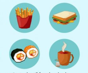 Food icons colored circle isolation vector