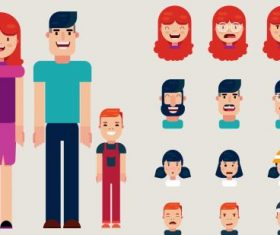 Human face avatars funny cartoon vector design