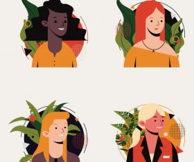 Human portrait avatar icons women face vector