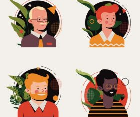 Men avatars icons colored cartoon characters vector design