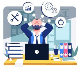 Office workload background stressful man work icons vector
