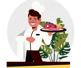 Waiter man food cartoon character vector