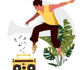 Lifestyle background excited young man radio music vector