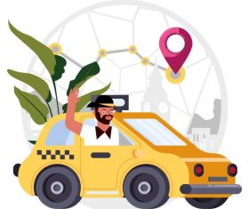 Taxi job background man car positioning map vector