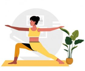 Yoga background woman doing exercise cartoon character vector