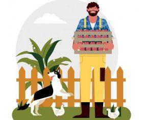 Rural life background farmer dog farmer chicken illustration vector