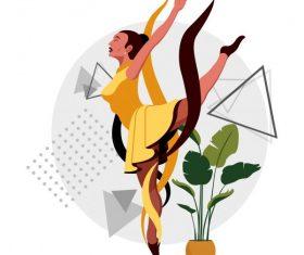 Ballerina dancing gesture cartoon character vector