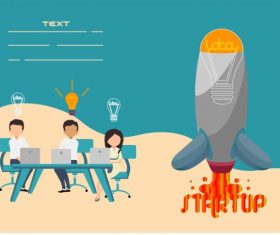 Startup banner working staffs lightbulb spaceship lightbulb vector