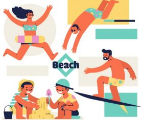 Beach activities icons joyful people cartoon characters vector