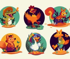 Animals species icons stylized cartoon characters vector