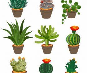 Decorative plant pot icons colorful vector