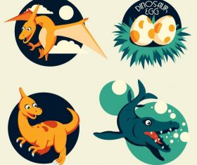 Dinaosaur icons pteranodon cartoon vector