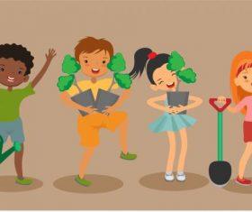 Plantation background joyful children cartoon characters vector