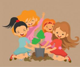 Kids activity background joyful girls cartoon vectors