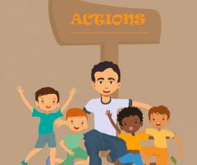 Action background joyful young people signboard vectors