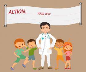 Action background joyful doctor children cartoon characters vector