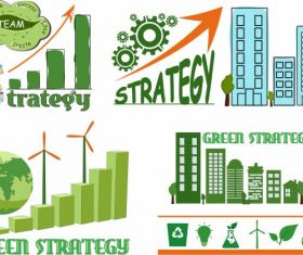 Ecology strategy elements globe building gear vector