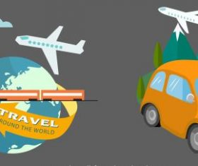 Travel elements vehicles globe landscape vector