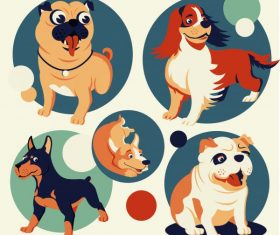 Dog avatar icons cute cartoon circle isolation vector