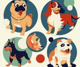 Dog avatar icons cute cartoon circle isolation vector