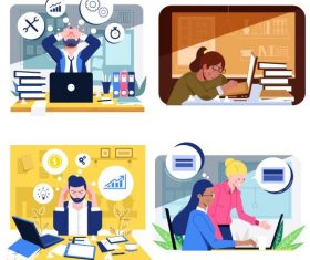 Office work backgrounds workload cartoon vector material