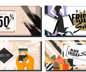 Black friday banners classical grunge products set vector