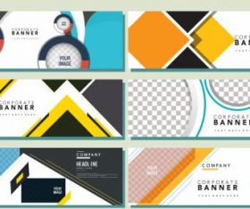 Corporate banners templates modern flat colorful geometric vector