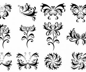 Black white symmetric swirled shapes design vectors