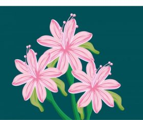Lily painting colored classical handdrawn vector