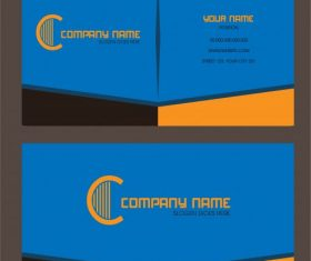 Business card template modern colored plain design vector