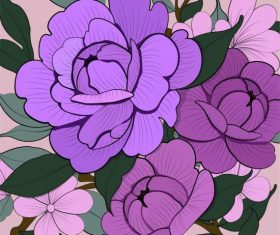 Flowers painting handdrawn violet vector design