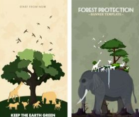 Environment banner templates nature emblems classical vector