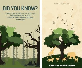 Environmental banner templates flat vector
