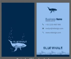 Business card template marine theme whale set vector