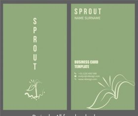 Business card template tree bud plain vector